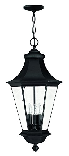 Hinkley-Three Light Black Bound, Bent & Beveled Glass Hanging Lantern-2502BK - Pendant Bound Glass Lantern Light