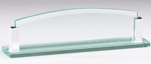 Glass Name Plate with Free Engraving (Glass Desk Nameplate)