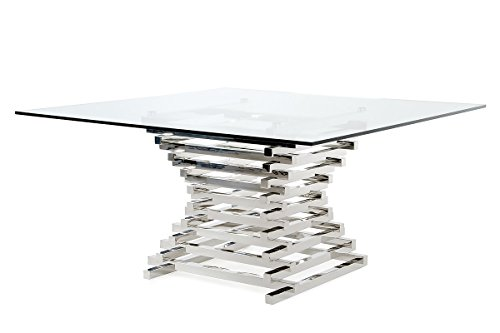 Limari Home The Penrod Collection Modern Stainless Steel Metal & Smoked Tempered Glass Contemporary Square Kitchen Dining Room Table - Collection Contemporary Dining Table