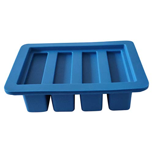 (HONEYYE Silicone Butter Mold Tray Container for Butter Pudding Soap Chocolate Ice Cube 4 Cavity Rectangle (Blue))