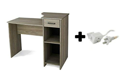 Furniture Office/Computer Desk with Adjustable Shelf in Rustic Oak Plus 3-Outlet Indoor (12Ft) Extension Cord in White