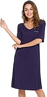 WiWi Womens Bamboo Soft Short Sleeve Nightgowns V Neck Sleep Shirts Comfy Nightwear Plus Size Sleepwear S-4X