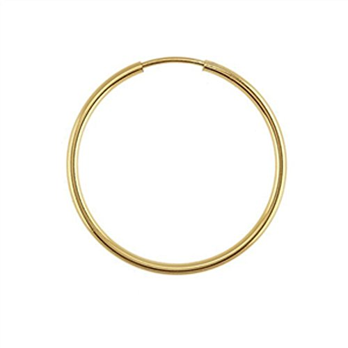 Designs by Nathan, 14K Yellow Gold Filled Seamless Endless Hoop Earrings, 7 Choices (Slender 1.3mm x 34.5mm) by Designs by Nathan