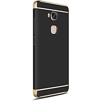 Honor 5x case with Tempered Glass Screen Protector Included, CAPY 3 In 1 Ultra Thin and Slim Hard Case Coated Non Slip Matte Surface with Electroplate Frame for Huawei Honor 5x -- Black