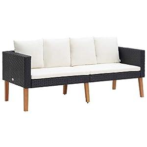 vidaXL Canapé de Jardin à 2 Places avec Coussins Salon de Jardin Mobilier de Patio Mobilier d'Extérieur Meubles de…