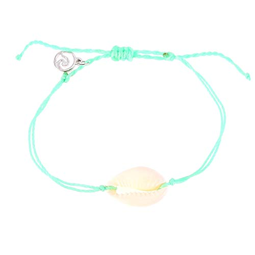 - Sanyyanlsy Girls's Natural Shell Hand-Woven Adjustable Pull Bracelet Ladies Simple Double Layer Bracelet (Green)