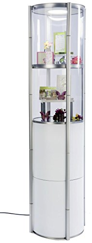 Displays2Go Round Twist Showcase for Trade Shows, Collapsible, Clear & White Panels, Top Lights - Silver and White (SLVTWST2ML) by Displays2go