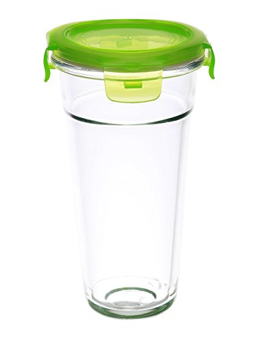 Kinetic Go Green Glassworks Element Series 14-Ounce Drink Shaker with Flat Lid 55806 ()