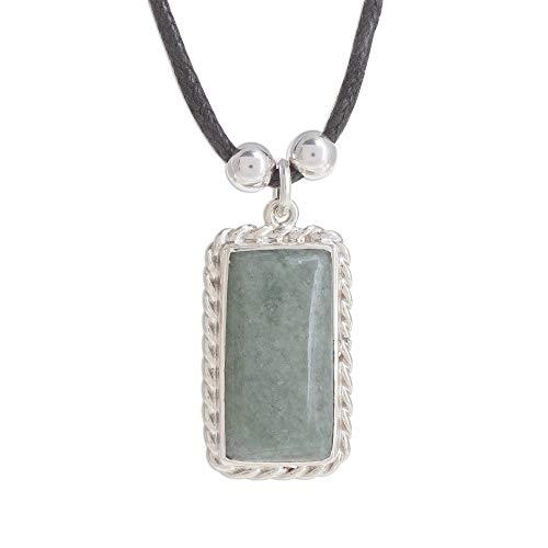 NOVICA Jade .925 Sterling Silver Pendant Necklace, 13