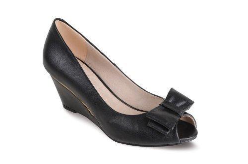 toe By Acento Tacón Boutique Sapphire Zafiro Lazo Peep Elegante Negro Mujer Estaño De Cuñas Zapatos P5T5xCwvq