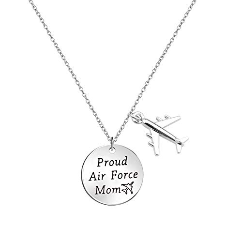 LQRI Airforce Mom Gift Proud Air Force Mom Necklace Airplane Charm Military Deployment Gift Long Distance Relationship Necklace for Mother (Silver)