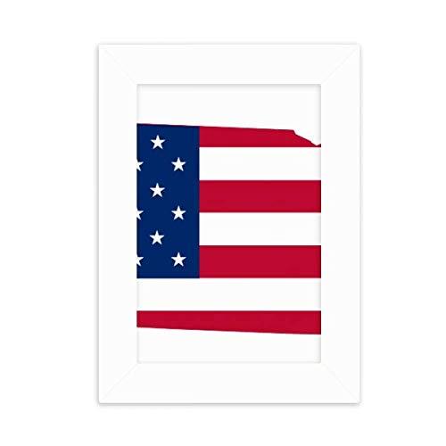 DIYthinker Nebraska USA Map Stars Stripes Flag Shape Desktop Photo Frame Picture White Art Painting 5x7 inch