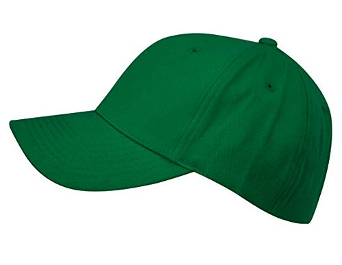 - Unisex 6 Panel Plain Baseball Cap - With Velcro Closure on Back of Hat - Deep Fit - Green