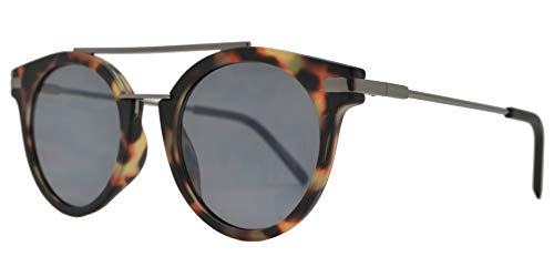 Retro Vintage Round Flat Lens Horn Rimmed Sunglasses with Metal Brow Bar (Tortoise + ()