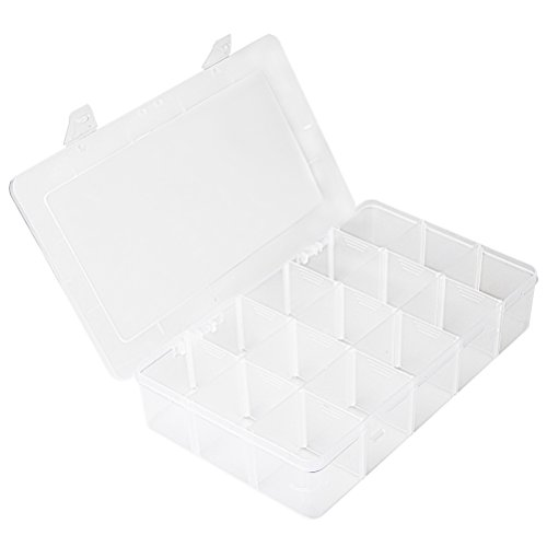 WODE Shop Plastic Organizer Container Storage Box, Pro-Latch Utility Dividers Box Organizer Case with Adjustable Divider Removable Grid Compartment (15 (Latch Utility Box)