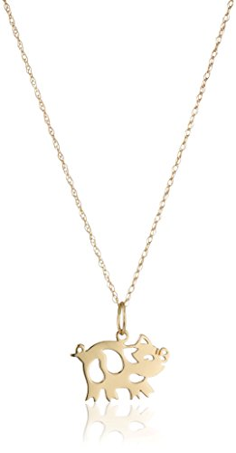 """14k Yellow Gold Chinese Zodiac Pig Pendant Necklace, 18"""""""