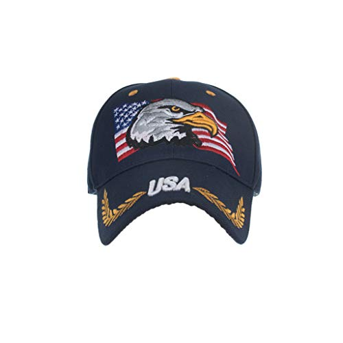(Dressin Patriotic Baseball Cap American Eagle and American Flag USA 3D Embroidery Hats Unisex Adjustable Caps)