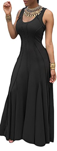 (leyay Womens Sexy Swing Long Evening Party Dress Ladies Vestidos High Waist Sleeveless Maxi Dresses Black)