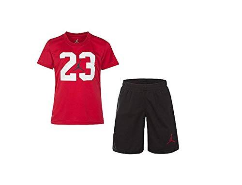 Jordan Air Jumpman Nike Little Boys' 2-Piece Shorts Outfit Set (Gym Red Shirt Black Shorts, 6)