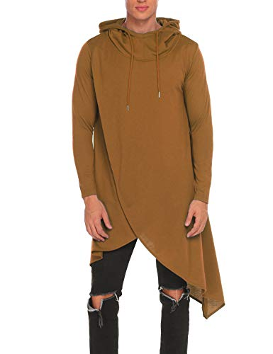 Pullover Bella Hooded (OOFANDY Mens Casual Hooded Poncho Cape Cloak Irregular Hem Hoodie Pullover,Coffee,Small)