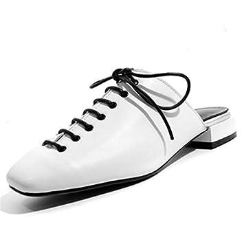 LFDGGX Lace-Up Flat Summer Zapatillas Mujer Blanco Tallas Grandes ...