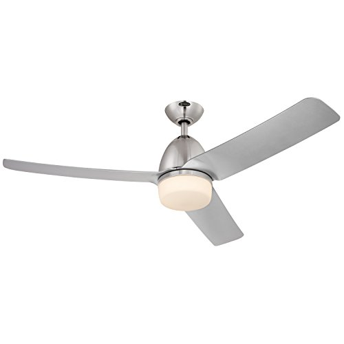 [Westinghouse 7800100 Delancey Two-Light Three-Blade Indoor DC Motor Ceiling Fan with Opal Frosted Glass, 52-Inch, Brushed Chrome Finish] (Three Blade)