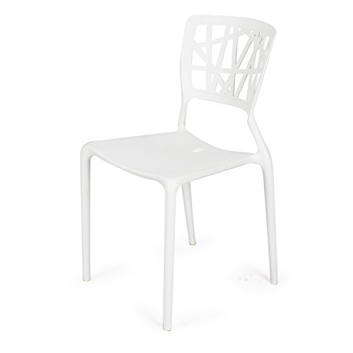 Adeco polypropylene hard plastic dining chairs fun living for White plastic kitchen chairs