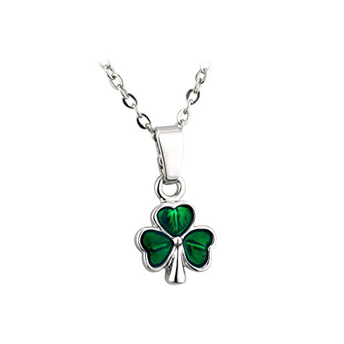 Biddy Murphy Green Shamrock Necklace Rhodium Plated & Enamel Irish Made