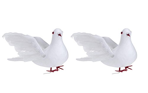 Yalulu 2 Pieces 10 inch Creative Decorative Fake Doves Artificial Foam Feather White Birds, Craft DIY Pigeon for Home Ornaments,Wedding Decor (Flying Pigeon)