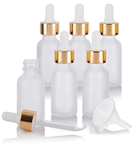 1 oz Frosted Clear Glass Boston Round Bottle with Gold Metal and Glass Dropper (6 pack) + Funnel for Essential oils, Aromatherapy, E-liquid, Food grade, BPA free
