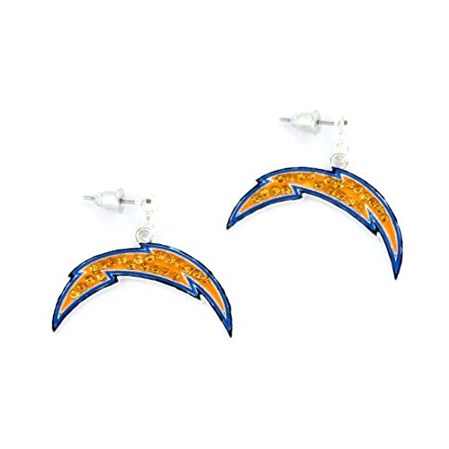 NFL Football San Diego Chargers Crystal Logo Earrings in Yellow and Blue