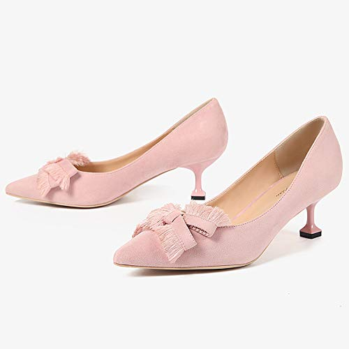 Heel Girl Bow Wild Cat 5Cm Point Stiletto Shoes High And heels Nude Women'S Single With Pink High Color Yukun 6XqOw4