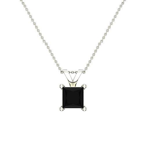 Diamond Princess Cut Pendant - 5/8 ct tw Natural Black Natural Princess cut Diamond Solitaire Pendant Necklace 14K White Gold