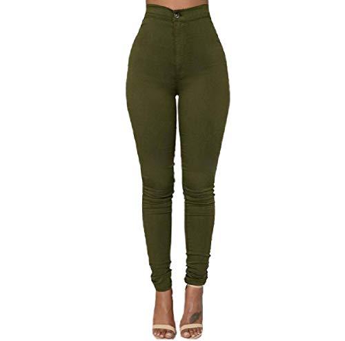 Donna Lunghi Vita Skinny Pantaloni Verde Alta a Zhrui q5wUExXx