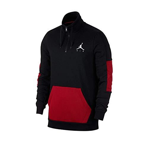 Nike Mens Jordan Jumpman Hybrid Fleece 1/4 Zip Black/Red-White Size Large
