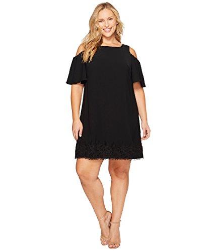 マエストロ抑圧普通に[アドリアナパペル] Adrianna Papell レディース Plus Size Gauzy Crepe Cold Shoulder Shift Dress ドレス Black 22W [並行輸入品]