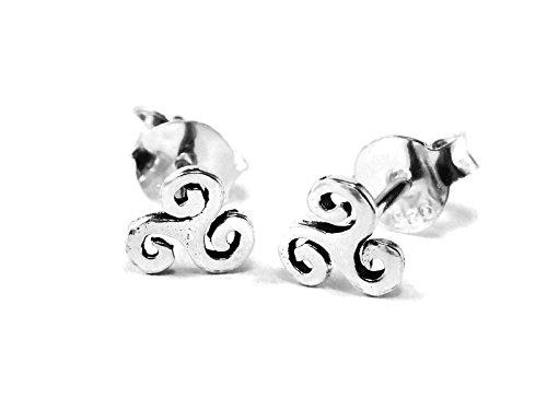 GreenCatJewelry 20 gauge (0.8mm) 925 Sterling Silver Cartilage Earrings Stud Triple Spiral Swirl Triskele Triskelion 1/5 (5mm) Triple Swirl Earrings