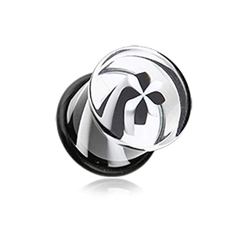 - Covet Jewelry Black & White Pinwheel Stripes Acrylic Single Flared Plug (6 GA (4mm))