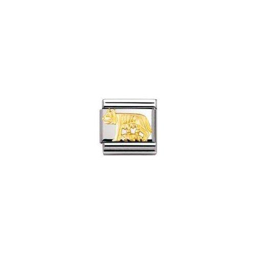 Nomination - 030122 - Maillon pour bracelet composable Mixte - Acier inoxydable et Or jaune 18 cts