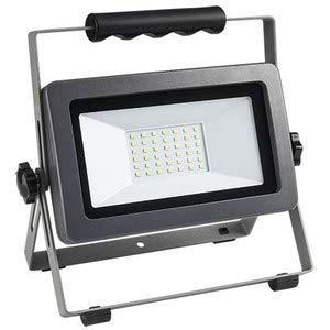 Faretto LED da cantiere su supporto – Lampadina LED da 30 Watt – Classe di efficienza energetica A+ – Cavo di alimentazione da 1,5 m, IP65 – colore  argento antracite