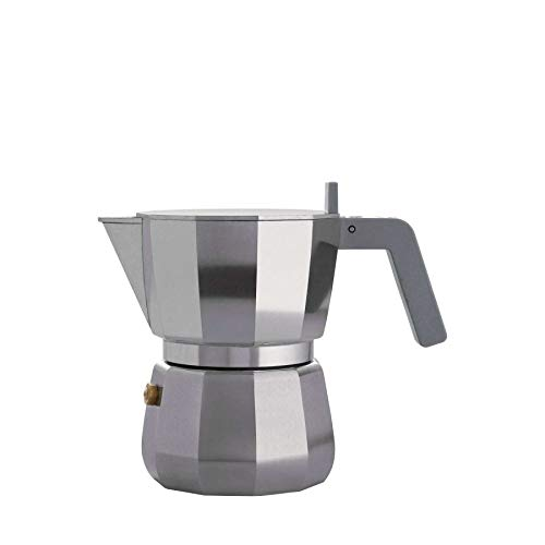 Alessi Espresso Coffee Maker in Aluminium Casting. Handle and knob in PA, Grey. 3 Cup.