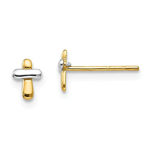 - 14k Two Tone Yellow Gold Cross Religious Post Stud Earrings Fine Jewelry Gifts For Women For Her