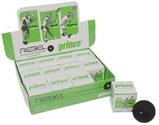 Prince Rebel Jaune à Pois Lot de 12balles de squash Noir