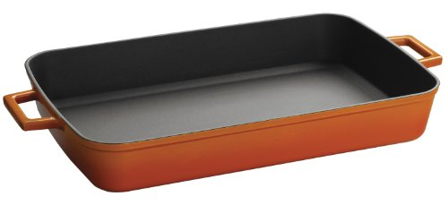 Lava Signature Enameled Cast-Iron - 5-1/4 quart - 10 x 16 inch Roasting - Baking Pan, Orange Spice by Lava Cookware