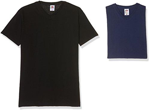 Of Fruit Da Loom pacco black shirt Valueweight T 36 The 10 32 Uomo navy V Multicolore neck rr1xdqB