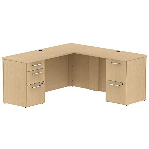 Bush Business Furniture 300 Series 66W x 22D Single Pedestal L-Desk in L-Configuration with 3 Drawer Pedestal