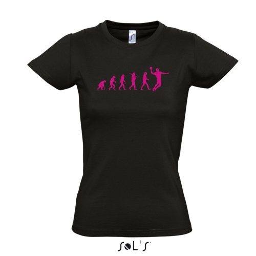 Damen T-Shirt - EVOLUTION - Handball Sport FUN KULT SHIRT S-XXL , Deep black - pink , M