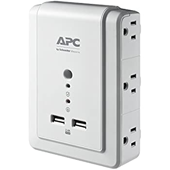 APC 6-Outlet Wall Surge Protector 1080 Joules with USB Charger Ports, SurgeArrest Wall Tap (P6WU2)