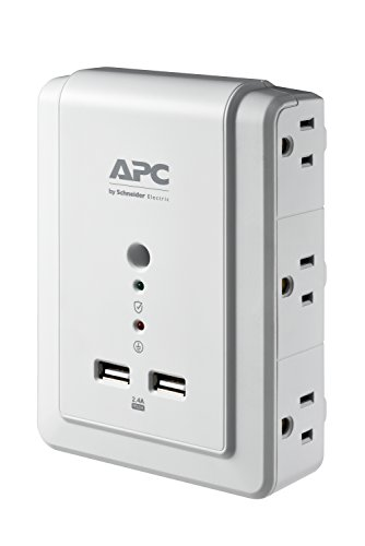 Surgearrest Essential Surge Suppressor (APC 6-Outlet Wall Surge Protector 1080 Joules with USB Charger Ports, SurgeArrest Wall Tap)