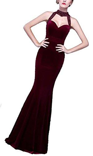 一般的に言えばサイドボード寄り添うKimBerley ビジュー ベロア ロング ドレス ノースリーブ ワンピース フォーマル 赤 マキシ丈 セクシー パーティー ナイトドレス キャバ嬢